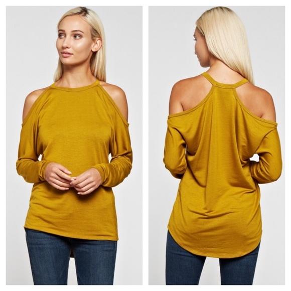 Tops - A cold shoulder halter top with racer back Mustard